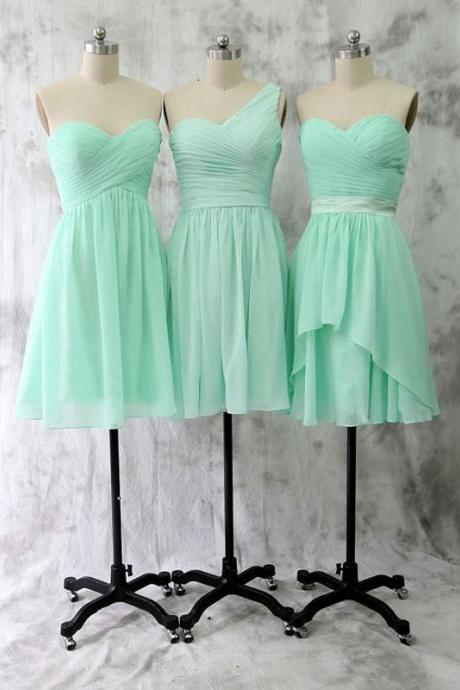 mint green bridesmaid dresses short chiffon cheap mismatched custom 2020 wedding guest dresses