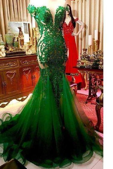 green evening dresses long mermaid lace applique beaded elegant modest sexy formal dresses vestido de festa 2020