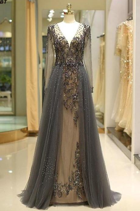 black prom dresses beaded crystals a line deep v neck elegant modest elegant prom gowns vestido de longo