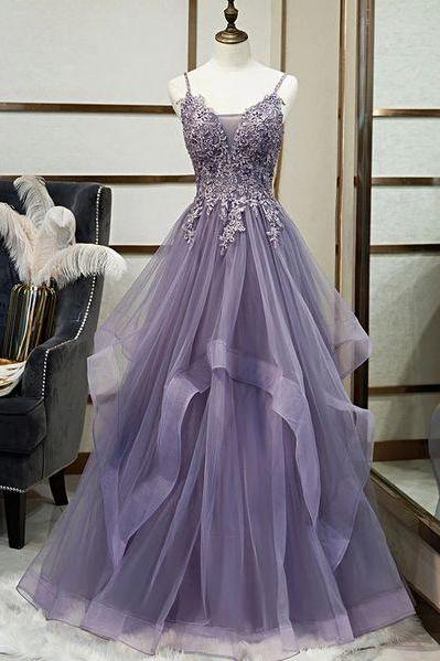 purple prom dresses v neck spaghetti straps lace applique tiered cheap prom gowns vestido de longo de festa