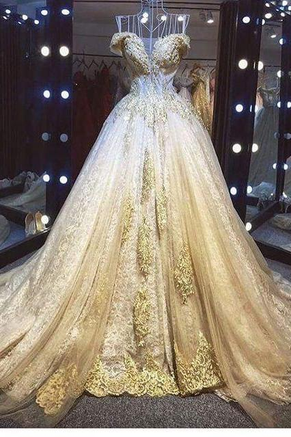 gold prom dresses ball gown sparkly lace applique beaded off the shoulder vintage prom gowns vestido de festa