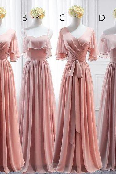 mismatched bridesmaid dresses long pink chiffon cheap elegant custom wedding guest dresses 2020 vestido de noiva