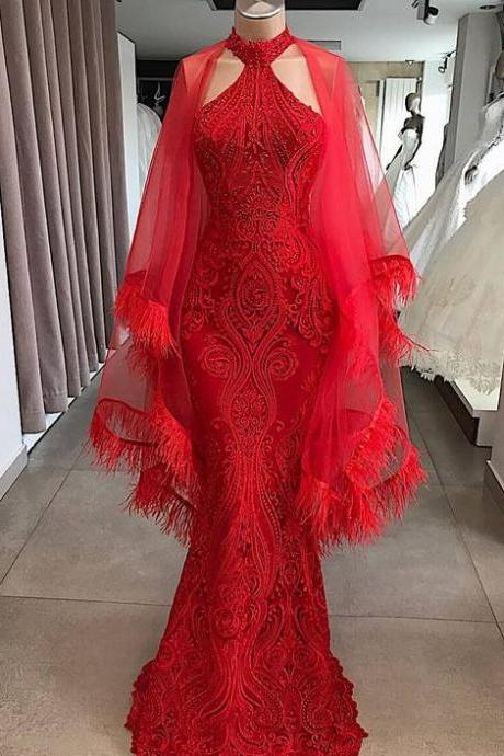 red evening dresses long dubai caftan fashion feather mermaid modest evening gown formal dresses vestidos casamento