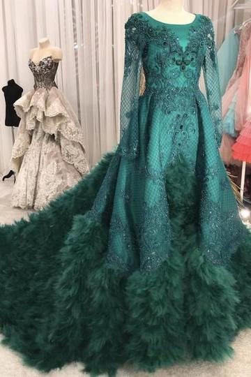 feather green prom dresses long sleeve lace applique vintage elegant beaded luxury prom gown robe de soiree vestido de longo