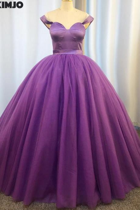 purple ball gown prom dresses 2020 real photo tulle simple elegant cheap prom gowns vestido de noiva