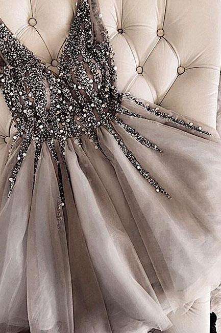 gray prom dresses short v neck beaded sleeveless tulle cheap graduation dresses vestido de festa de curto 2020