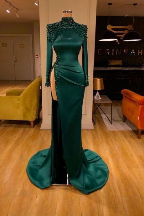 high neck evening dress, beaded evening dress, green evening dresses, modest evening dress, sexy formal dress, vestido de longo, mermaid evening dresses, evening dresses 2020, women fashion