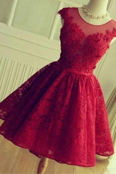red lace prom dresses short cap sleeve elegant cheap prom gown vestido de festa de curto