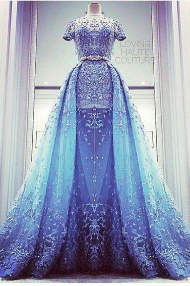 short sleeve blue prom dresses 2020 lace applique beaded detachable skirt elegant sparkly prom gown robe de soiree