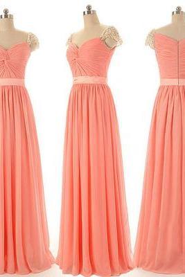cap sleeve beaded prom dresses long chiffon coral a line simple pleated cheap prom gowns vestido de fiesta