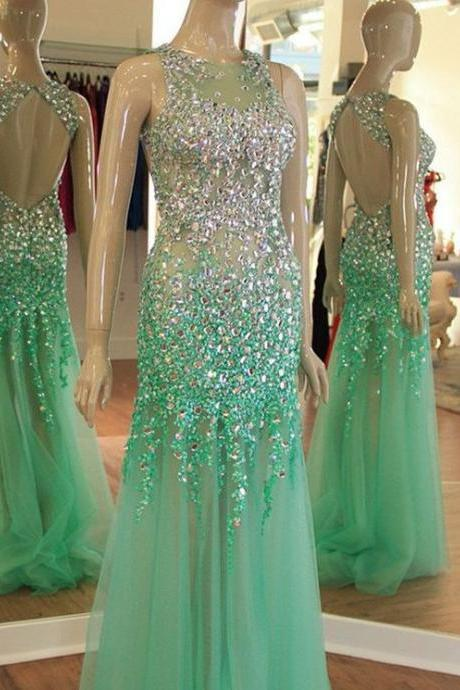 mermaid evening dresses long mint green beaded elegant sleeveless sparkly luxury sexy formal dresses 2021 vestido de longo