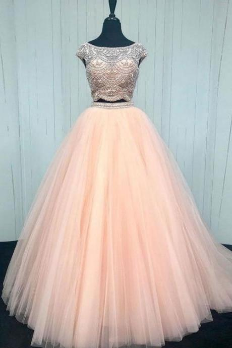 2 piece prom dresses, pink prom dress, cap sleeve prom dresses, beaded prom dress, 2021 prom dresses, prom dresses long, prom dresses 2020, beaded prom dresses, vestido de festa de longo