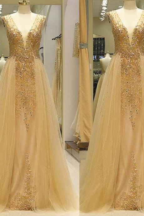 gold champagne prom dresses detachable skirt beaded applique elegant deep v neck prom gown 2021 vestido de longo