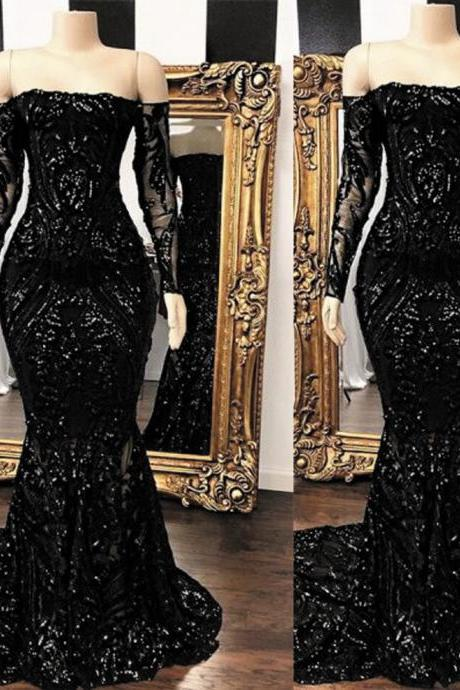 abendkleider 2020 black evening dresses long sleeve mermaid modest sparkly sequin applique modest sexy formal evening gown 2021 robe de soiree