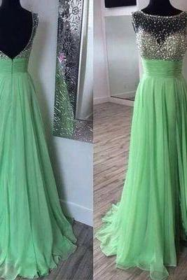 mint green beaded prom dresses long 2021 sparkly chiffon cheap a line elegant prom gown vestido de fiesta