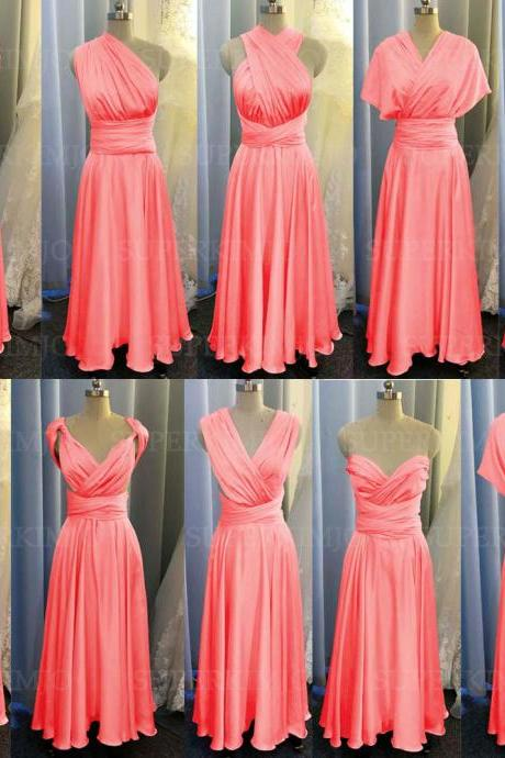 coral bridesmaid dresses long satin infinite cheap custom elegant convertible sexy wedding party dresses 2021