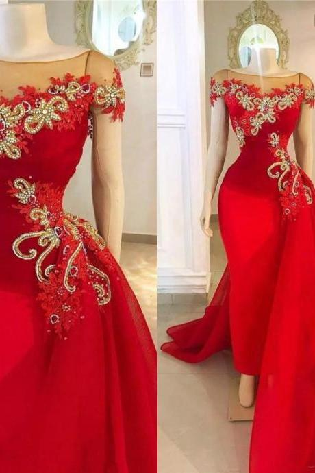 red detachable skirt prom dresses 2020 cap sleeve lace applique beaded elegant luxury prom gown 2021 robe de soiree