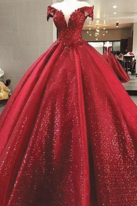 sparkly ball gown prom dresses red off the shoulder v neck princess sequin bling elegant prom gown vestidos de graduacion