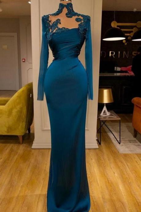 high neck modest evening dresses long sleeve lace applique beaded teal green elegant cheap formal evening gown 2021