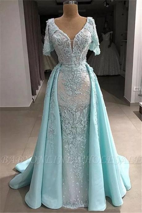 detachable skirt lace applique prom dresses 2020 short sleeve beaded light blue elegant prom gown robe de soiree 2021