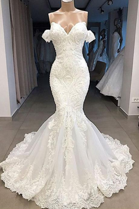 off the shoulder mermaid wedding dresses for bride beaded off white modest elegant wedding gown robe de mariee 2021