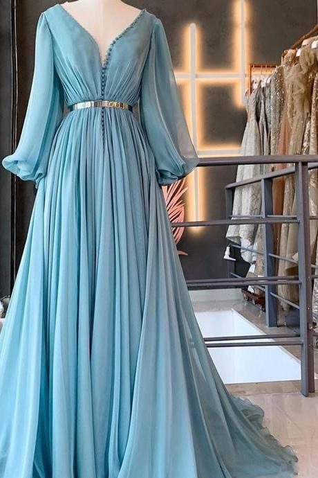 smoky blue prom dresses long sleeve v neck simple chiffon elegant cheap prom gown 2021 vestido de longo