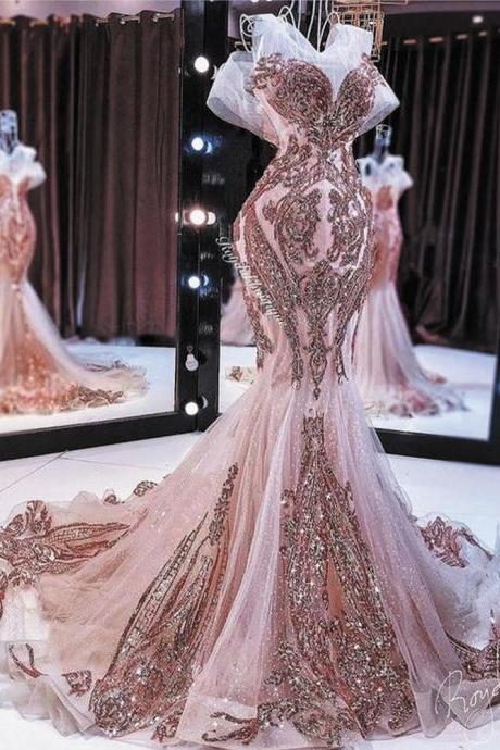 rose gold evening dresses long mermaid modest sparkly sequin applique elegant evening gown abendkleider 2021