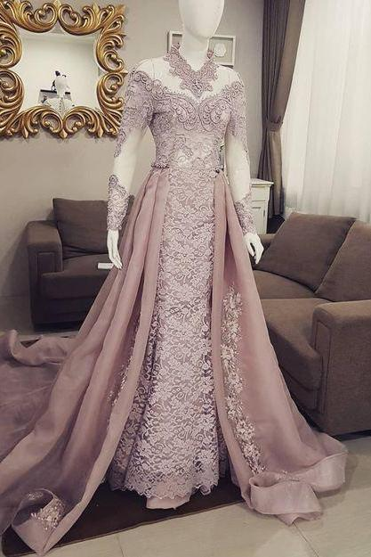 dusty pink lace applique prom dresses long high neck vintage modest arabic muslim prom gown robe de soiree