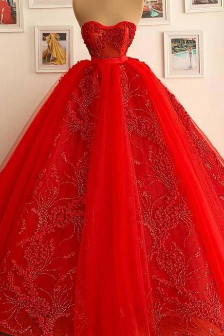 red ball gown prom dresses sweet 16 dresses vestido de graduacion beaded lace applique princess luxury prom gown vestido de fiesta quinceanera dresses