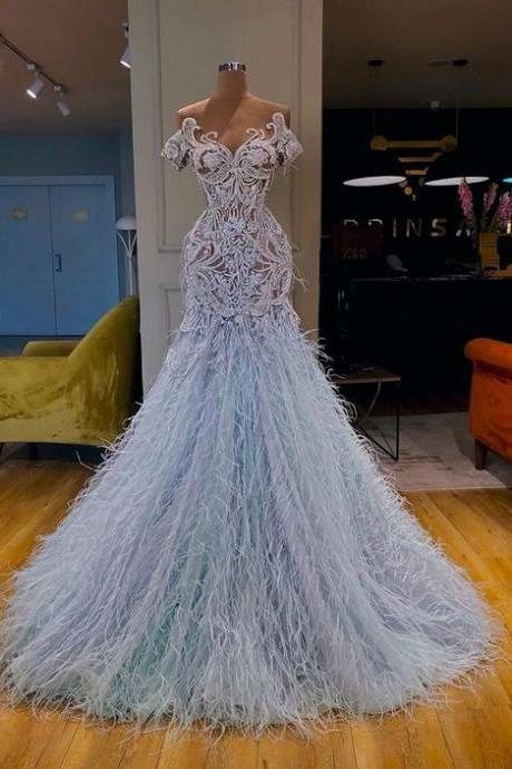 luxury modest feather evening dresses prom gown blue trumpet lace applique modest 2021 evening gown vestido de fiesta