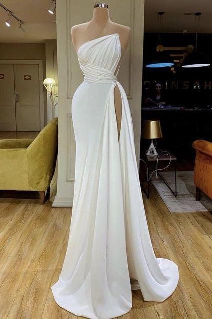 white simple evening dresses long cheap elegant modest mermaid sexy formal party dresses vestido de fiesta 2021