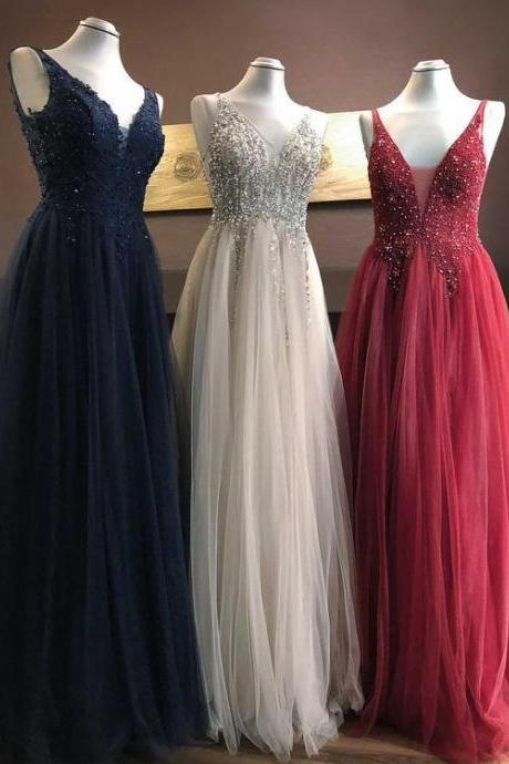 beaded v neck prom dresses long crystals tulle a-line elegant cheap prom gown robe de soiree 2021