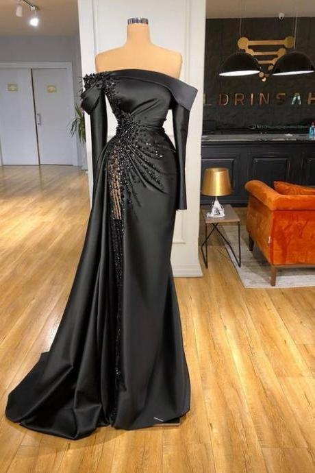 long sleeve black evening dresses 2020 beaded mermaid modest vintage boat neck elegant evening gown 2021 robe de soiree