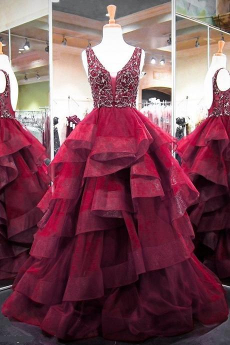 burgundy beaded prom dresses ball gown pageant dresses for women v neck tiered elegant sleeveless prom gowns 2021