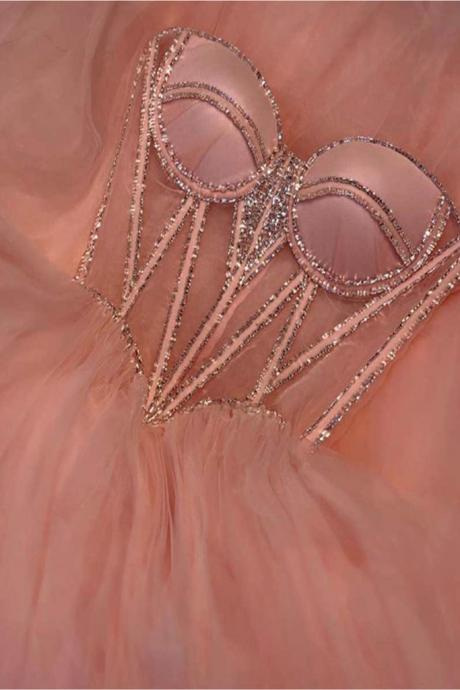 sweetheart neck prom dresses 2020 pink beaded tulle simple pageant dresses for women 2021 vestido de graduacion