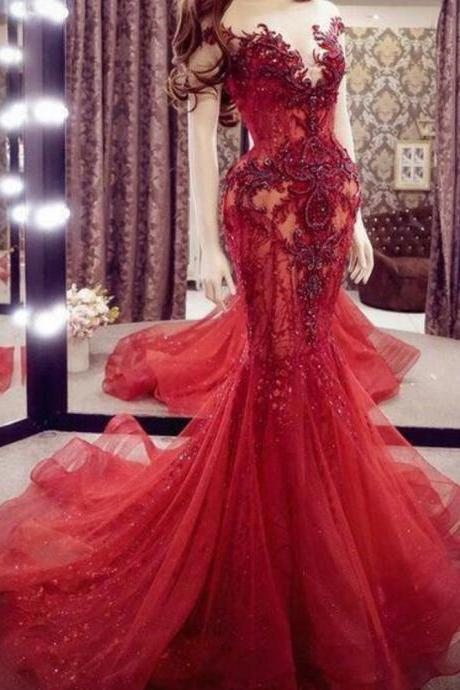 red evening dresses, mermaid evening dress, lace applique evening dress, beaded evening dresses, formal party dresses, 2021 evening dresses, vestido de fiesta, robe de soiree, modest evening dresses