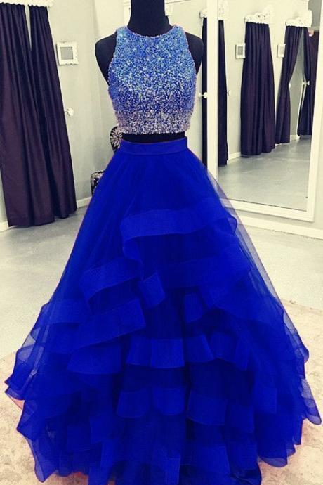 2 piece prom dresses 2021 o neck blue beaded tiered prom gown pageant dresses for women vestido de longo