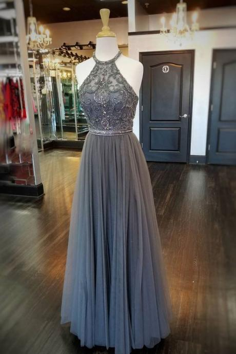 halter beaded prom dresses long cheap a line gray sleeveless simple prom gown vestido de longo 2021