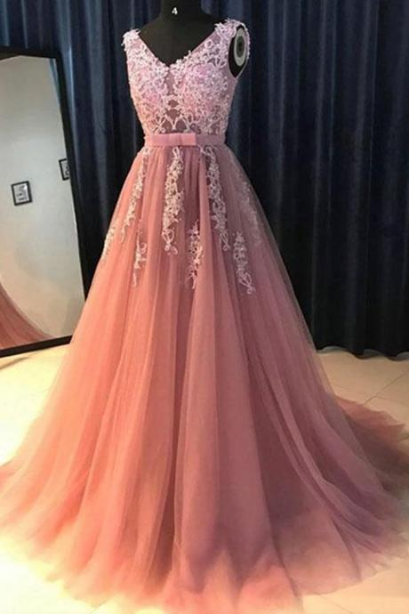 dusty pink lace applique prom dresses long v neck beaded sleeveless elegant a line prom gown robe de soiree 2021
