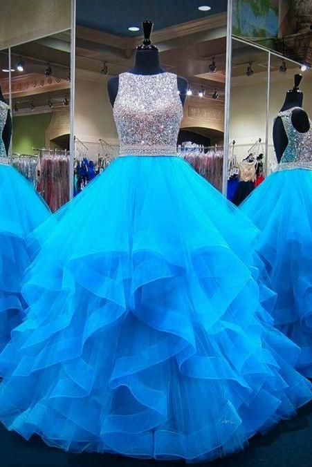 blue beaded prom dresses 2021 crystal sparkly luxury tulle elegant sleeveless prom gowns vestido de longo