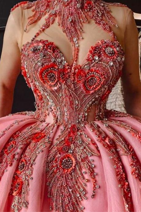 luxury prom dresses beaded applique crystals pink ball gown prom dresses sweet 16 dresses
