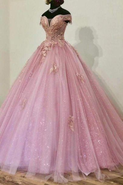 sparkly prom dresses ball gown 2021 vestido de graduacion beaded lace applique beaded elegant pink prom gowns
