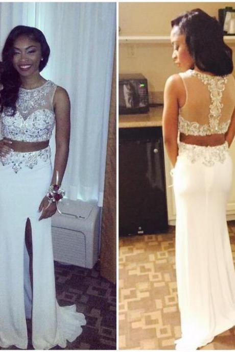 2016 Two Piece Prom Dresses For Women, Long Sexy Rhinestones Prom Dress, Cheap Prom Dress With Side Slit, Mermaid Prom Dresses/Evening Gowns