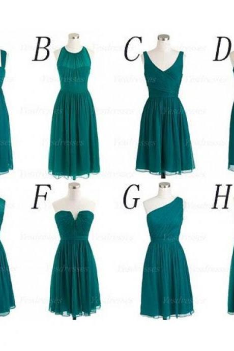 Mismatched Hunter Green Short Bridesmaid Dress, 2016 Bridesmaid Dresses For Weddings, Chiffon Bridesmaid Dress, Cheap Bridesmaid Dress, Junior Bridesmaid Dresses, 2016 Bridesmaid Dress, Wedding Party Dresses