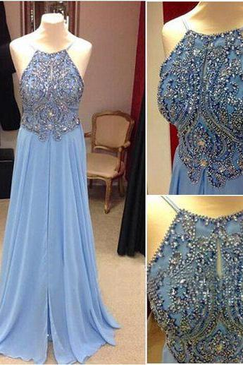 Backless Blue Halter Long Prom Dress, Rhinestones Cheap Prom Dress, Elegant Chiffon Prom Dress, Sexy Formal Dress, 2016 New Arrival Formal Dresses, Women Prom Dress