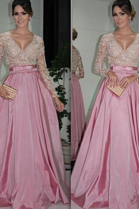 V Neck Modest Prom Dress, Pink Long Sleeve Sparkly Prom Dress, Beaded Satin A Line Prom Gowns, Elegant Cheap Prom Dress