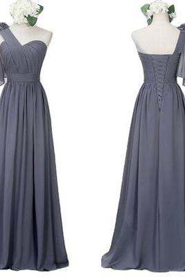 One Shoulder Grey Bridesmaid Dress, Long Chiffon Gray Bridesmaid Dress, Elegant Custom Cheap Bridesmaid Dress, 2016 Bridesmaid Dress For Weddings, Wedding Guest Dresses