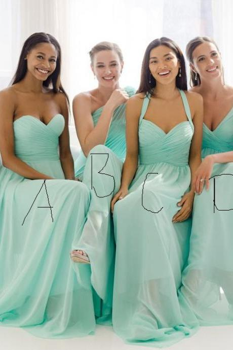 Mismatched Mint Green Bridesmaid Dresses, Long Chiffon Cheap Bridesmaid Dresses, Simple Elegant A Line Bridesmaid Dresses, 2016 Wedding Guest Dresses
