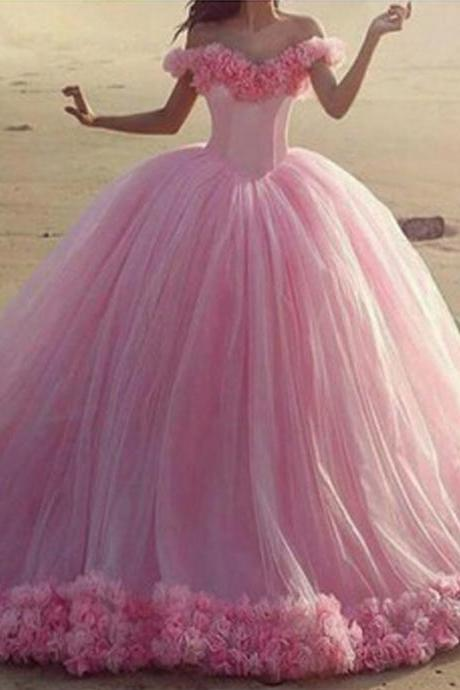 Pink Puffy Tulle Wedding Dress, Simple Elegant Wedding Ball Gown, Handmade Flowers Wedding Dress, 2016 New Arrival Wedding Dress, Chapel Train Wedding Dress