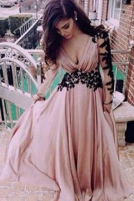 Dusty Pink Lace Prom Dress, V Neck Chiffon Long Prom Dress, Long Sleeve Elegant Prom Dress, 2016 Prom Dresses, Cheap Prom Gowns Women